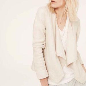 Lou & Grey 100% Linen Open Front Blazer Cream M